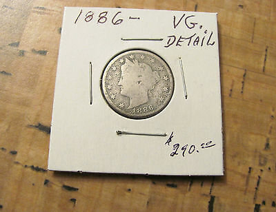 Key Date Very Rare 1886 Liberty V Nickel.vg.