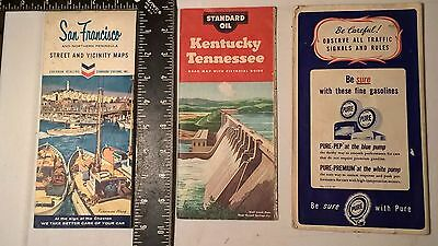 Old Road Maps 1 Pure Oil FL, 2 Standard Oil 1- KY & TN  1 -San Francisco 1950 52