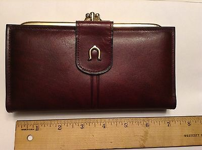 new VTG EITENNE AIGNER leather WALLET kiss lock COIN PURSE cc slots CHECKBOOK
