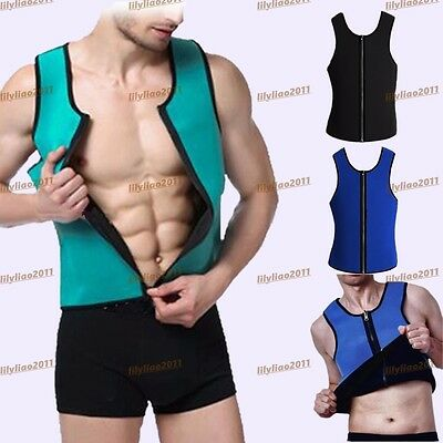 Slimming Mens Neoprene Corset Suits Sauna Sweat Shirt Body Shaper Waist Training