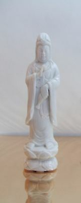Chinese Carved White Hardstone Marble Figure Guan Yin 'Pouring Bottle of Tears'