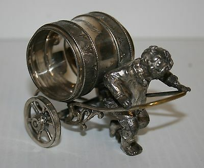 Victorian Silver Plated Napkin Ring Unnamed Young Boy Pulls WHEELED RING