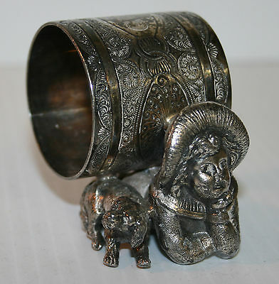 Victorian Silver Plated Napkin Ring A Boy & His Dog Unnamed