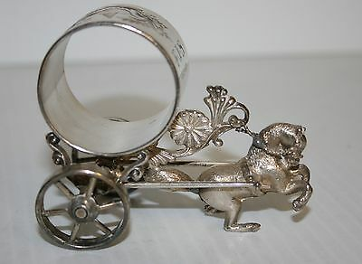Victorian Silver Plated Napkin Ring Meriden B Co #214 HORSE DRAWN CART