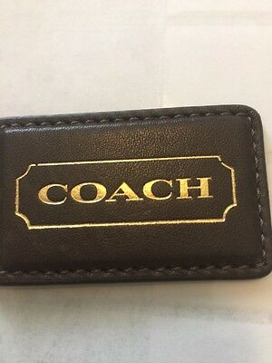 COACH 70th Anniversary Bag Hanging Tag Fob Charm Keychain Brown/ Gold Ball Chain