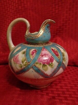 Antique Handpainted Nippon Gilt Moriage Rose Squat Ewer Pitcher c1891-1921