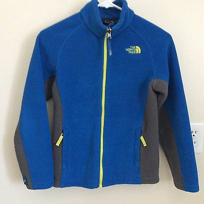 The North Faceboys M/m (10/12) Full Zip Blue Fleece Jacket With Green And Gray