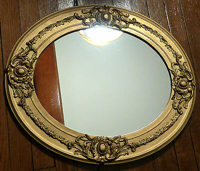 """Antique Large Victorian Gold Floral Frame Oval Glass Mirror 22"""" x 19"""" Wood Gesso"""