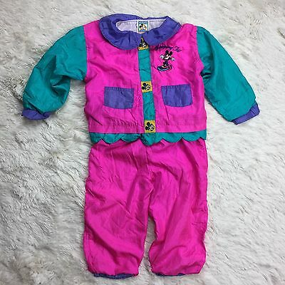 Vintage Minnie Mouse Toddler 24 Mo Tracksuit 2 Piece Jacket Pants Pink Purple