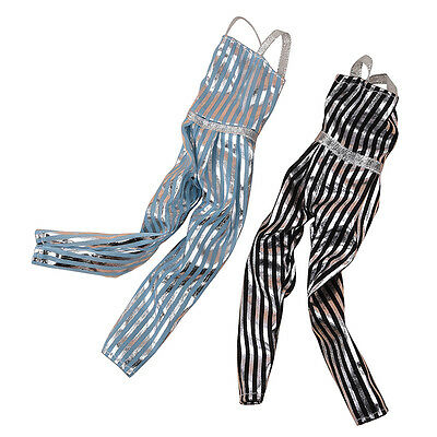 Fashion Vertical Stripe Suspenders Clothes For Barbie Toy Doll Tackle Black