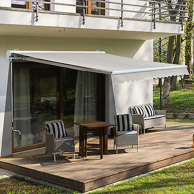 Outsunny 3.5 x 2.5M Outdoor Electric Shade Sun Canopy Patio Retractable Awning