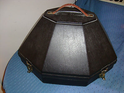 PROFESSIONAL HARD PLASTIC Mirrored HAT BOX TRAVEL CASE With Lady STETSON Sun Hat
