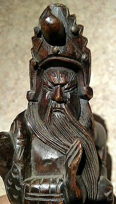 "Rare Vintage 12"" Carved Wood Asian Statue Figure of Samurai Dragon Warrior"