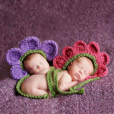Newborn Baby Infant Knitted Crochet flower hat Costume Photo Photography Prop