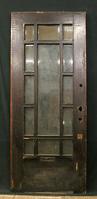 "34""x84"" Antique Exterior Entry Oak Arts & Crafts Mission Door Beveled Glass Lite"