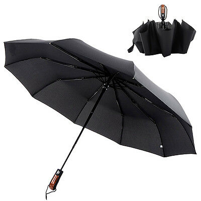 Wind Resistant Fiberglass Auto Close Open Windproof Vented Men's Black Umbrella