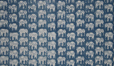 Blue colored elephant hand block print 100% cotton fabric sold by 10 yard