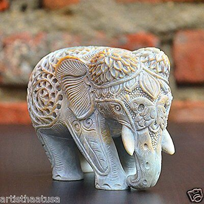 Easter Gift Artist Haat Hand Carved Indian Lucky Elephant Statue Home Decoration