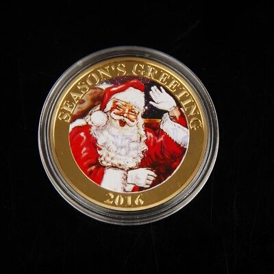 Gold Plated Merry Christmas Santa Claus Commemorative Coin Collection Gift EW