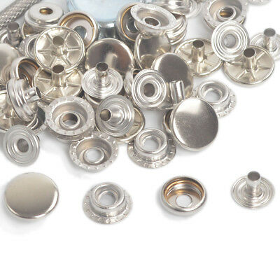 15mm 15/50 Sets Silver Long Post Leather Craft Press Stud Snap Fasteners Buttons