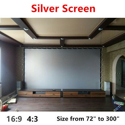 "NIERBO HD Projector Screens Sliver 72"" 84"" 100"" 120"" 150"" 180"" 4:3 16:9 Eyelets"