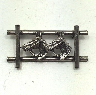Rare Vintage Estate Horse Horses Equestrian Fence Bridle Brooch Pin Silver