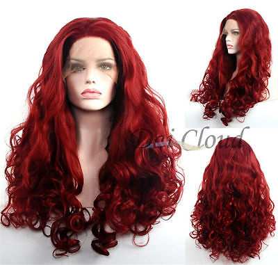 Long Dark Red Lace Front Wig New Fashion Women's Curly Synthetic Wavy Full Wigs