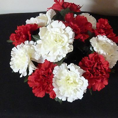 Artificial Silk Flowers Large Red White  Carnations  Grave Memorial Pot R/ Price