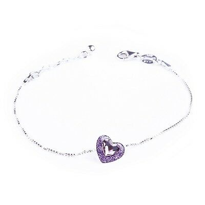 Bracciale Donna Argento 925 Rodiato CUORE SWAROVSKI ELEMENTS 100% Made in Italy