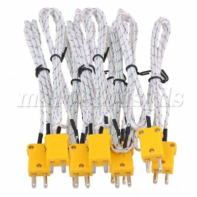 10Pcs 1 Meter Thermocouple K Type Cable Probe Sensors with Mini Connector