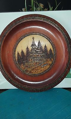 Vintage hand carved wood plate with house and tree design