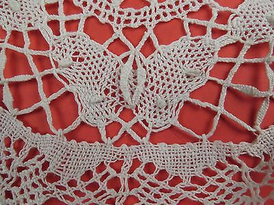Antique Handmade Butterfly Lace Round Linen Doily Doiley Needle Dimensional