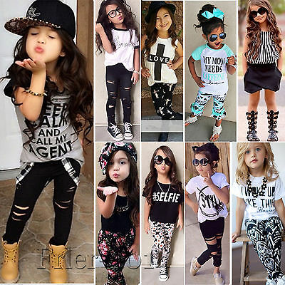 Kids Toddler Girls T-shirt Top + Legging Pants Outfits Set Summer Casual Clothes