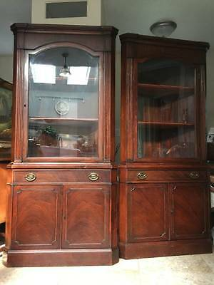 Pair DREXEL Antique Mahogany corner china cabinet curio 1930s