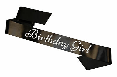 Black Birthday Girl Sash Party Sashes Celebration Sweet Sixteen Gift Present