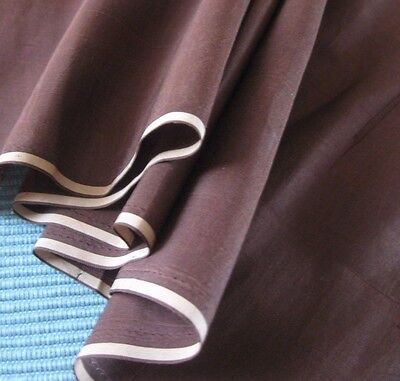 Antique Brown Silk Taffeta For French Or German Bisque Doll Clothes~Narrow Width