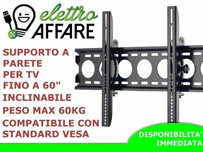 "Staffa Porta Tv Monitor Da 30"" A 60"" Pollici Supporto A Parete Muro Inclinabile"