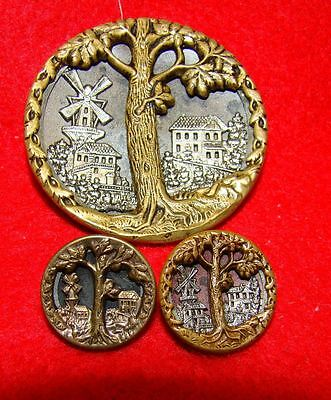 3 Antique Metal Picture Sewing Buttons(lot135) Oak Tree - Windmill - Bldg