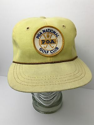 Vintage PGA National Golf Club Hat Collectible Patch Yellow Linen Derby Cap USA