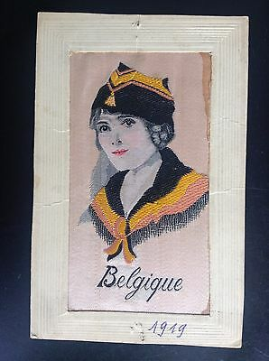 CP ancienne carte postale soie brodée Embroidered silk Fantaisie