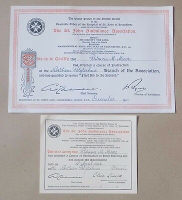 2  X St John Ambulance Association Certificates 1945 & 1946