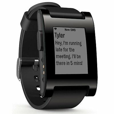 Pebble Black Smart Watch for iPhone & Android with Silicone Strap