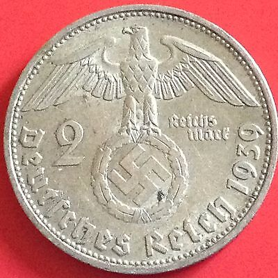 1939 D  Germany 2 Reichsmark Silver Coin