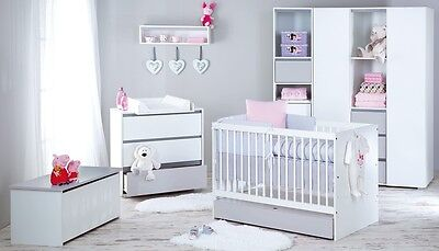 Big Sale Baby Child Classic Wooden White & Grey Cot With Drawer+ Mattress