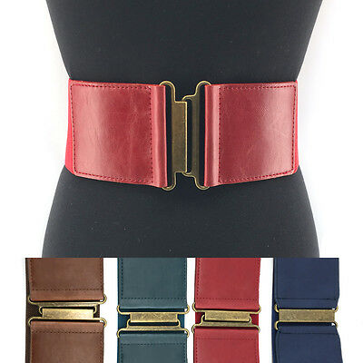 Vintage WOMEN Fashion ELASTIC stretch Waist Belt Gold Metal Hook Wide PU Leather