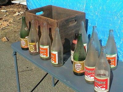 Vintage Soda Bottles and a vintage Mayflower Wood Box Boston Mass.