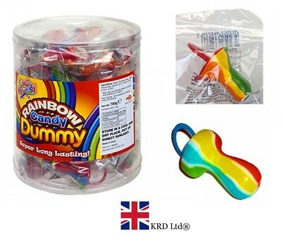 RAINBOW CANDY ROCK DUMMIES On Plastic Ring Party Bag Filler Baby Shower Gift UK