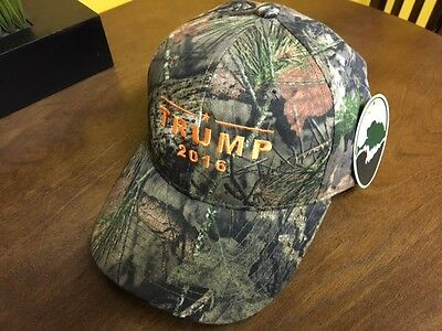 TRUMP 2016  Donald Trump Camo Baseball Hat Mossy Oak Orange Embroidery