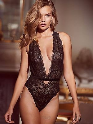 VICTORIA'S SECRET Wicked Strappy Plunge Lace Teddy Bodysuit black L NWT