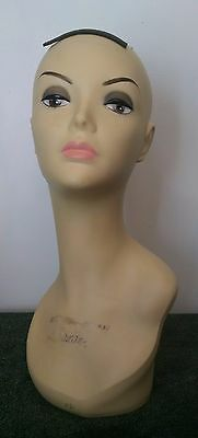 "19"" Tall Female Bust Mannequin Head Wig Display Flesh Tone Professional make-up"